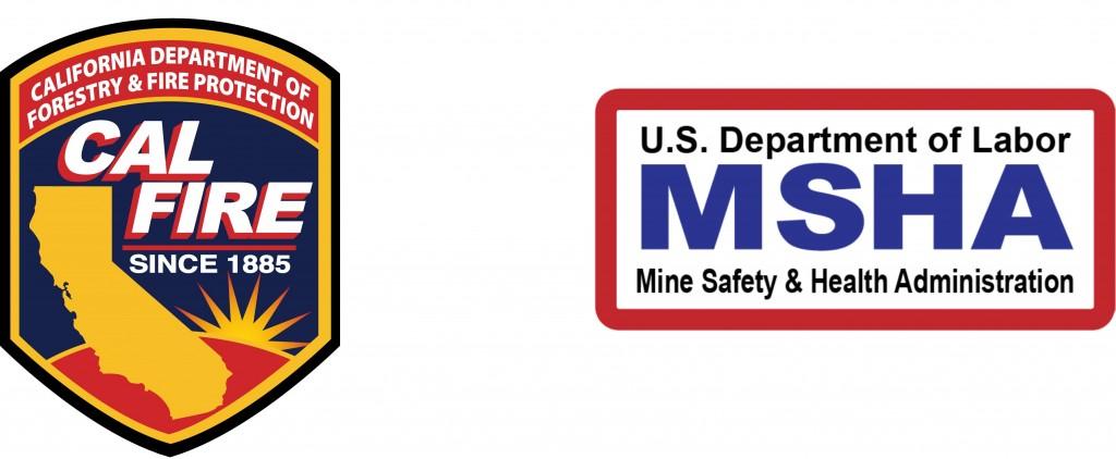 Logotipos de las certificaciones Cali Fire y MSHA de lonas con retardante al fuego de Megaplast